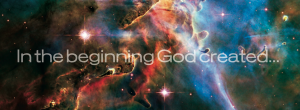 In the beginning God created banner